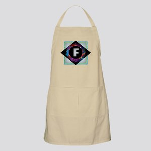 F - Letter F Monogram - Black Diamond F - Le Apron