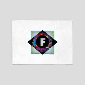 F - Letter F Monogram - Black Diamo 5'x7'Area Rug