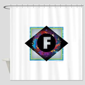 F - Letter F Monogram - Black Diamo Shower Curtain