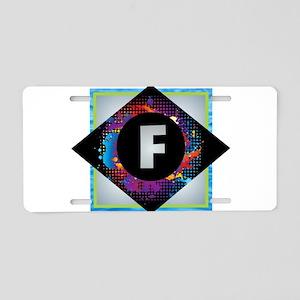 F - Letter F Monogram - Bla Aluminum License Plate