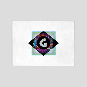 G - Letter G Monogram - Black Diamo 5'x7'Area Rug