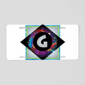 G - Letter G Monogram - Bla Aluminum License Plate