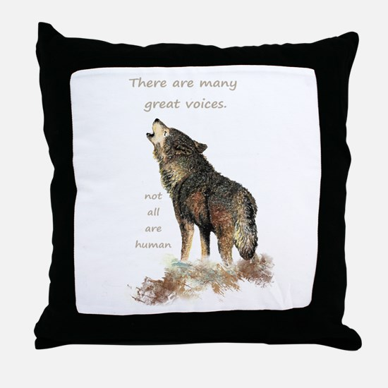 Many Great Voices Inspirational Wolf Quote Throw P