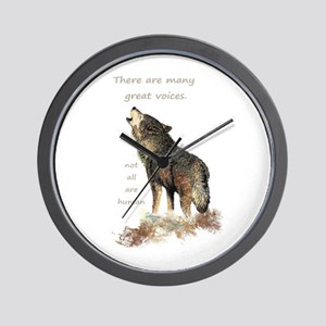 Many Great Voices Inspirational Wolf Wall Clock