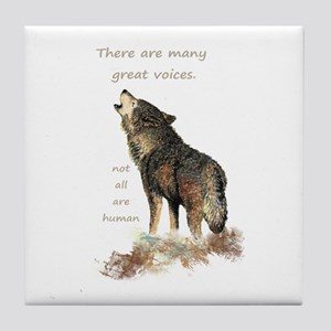Many Great Voices Inspirational Wolf Tile Coaster