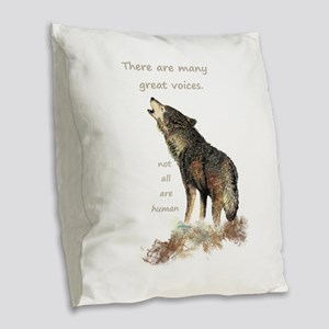 Many Great Voices Inspirational Wolf Quote Burlap