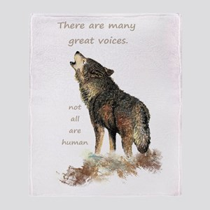 Many Great Voices Inspirational Wolf Throw Blanket