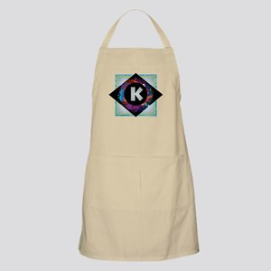 K - Letter K Monogram - Black Diamond K - Le Apron