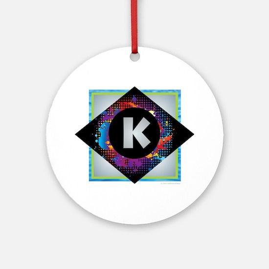 K - Letter K Monogram - Black Dia Ornament (Round)