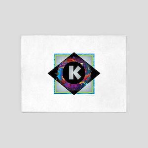 K - Letter K Monogram - Black Diamo 5'x7'Area Rug