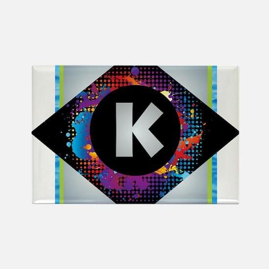 K - Letter K Monogram - Black Diamond K - Magnets