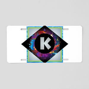 K - Letter K Monogram - Bla Aluminum License Plate