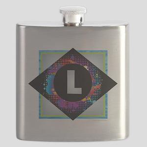 L - Letter L Monogram - Black Diamond L - Le Flask