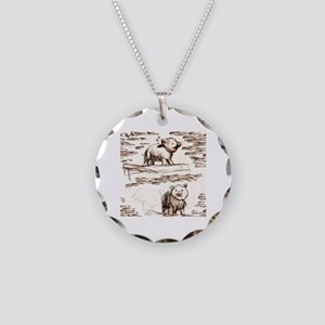 Piggy Bank Toile Necklace Circle Charm