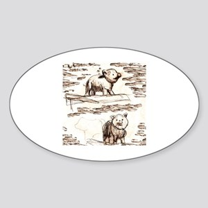 Piggy Bank Toile Sticker (Oval)