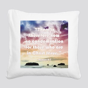 Bible Verse No Condemnation Square Canvas Pillow