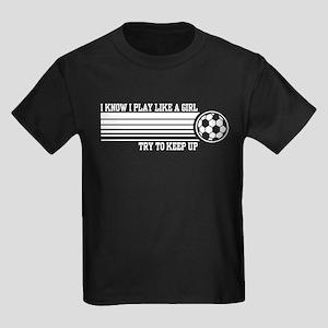 Play Like A Girl Soccer Kids Dark T-Shirt