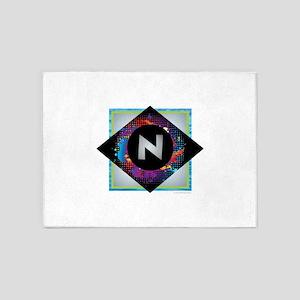 N - Letter N Monogram - Black Diamo 5'x7'Area Rug