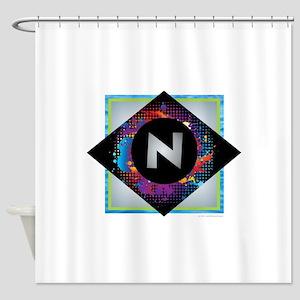 N - Letter N Monogram - Black Diamo Shower Curtain