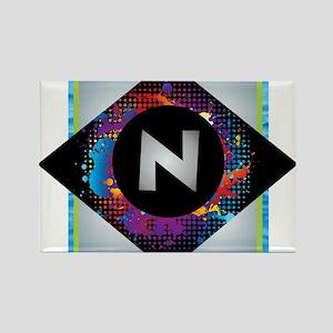 N - Letter N Monogram - Black Diamond N - Magnets