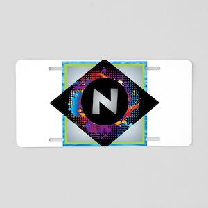 N - Letter N Monogram - Bla Aluminum License Plate