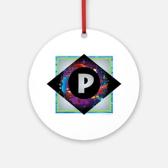 P - Letter P Monogram - Black Dia Ornament (Round)