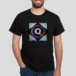 Q - Letter Q Monogram - Black Diamond Q - T-Shirt