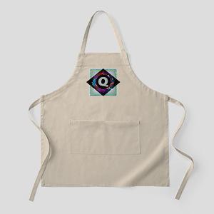 Q - Letter Q Monogram - Black Diamond Q - Le Apron