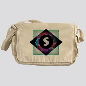 S - Letter S Monogram - Black Diamon Messenger Bag