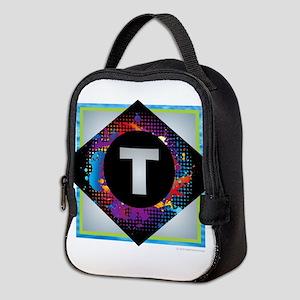 T - Letter T Monogram - Black D Neoprene Lunch Bag