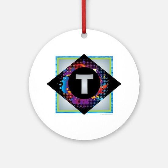 T - Letter T Monogram - Black Dia Ornament (Round)