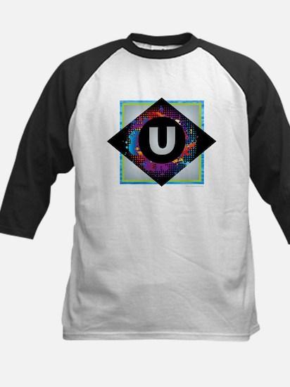 U - Letter U Monogram - Black Diam Baseball Jersey