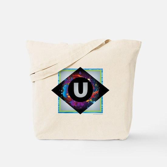 U - Letter U Monogram - Black Diamond U - Tote Bag