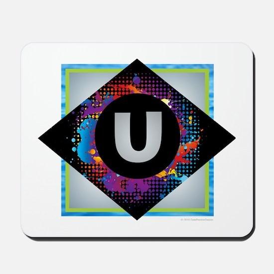 U - Letter U Monogram - Black Diamond U Mousepad