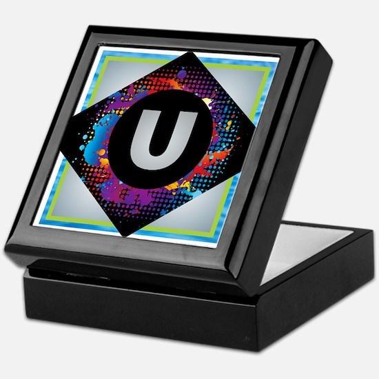 U - Letter U Monogram - Black Diamond Keepsake Box