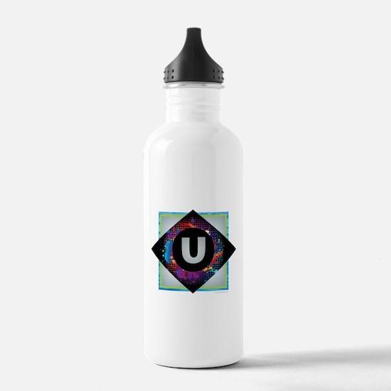 U - Letter U Monogram Water Bottle