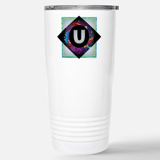 U - Letter U Monogram - Stainless Steel Travel Mug