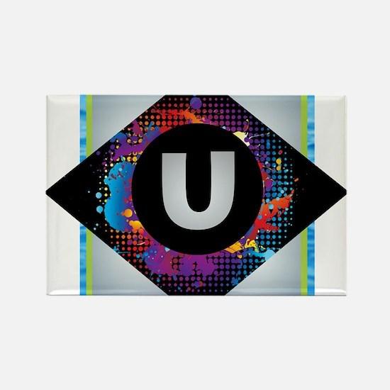U - Letter U Monogram - Black Diamond U - Magnets