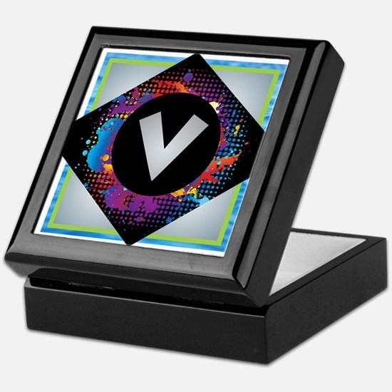 V - Letter V Monogram - Black Diamond Keepsake Box
