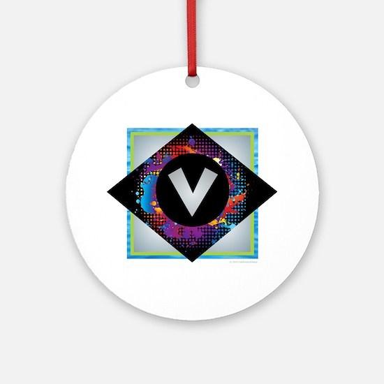 V - Letter V Monogram - Black Dia Ornament (Round)