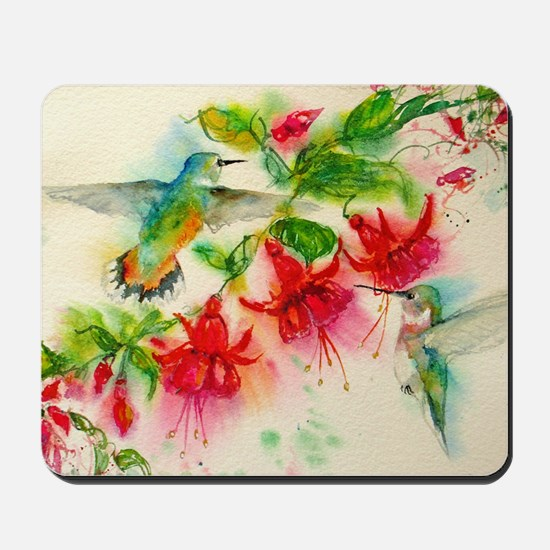 Hummingbirds in Fuschia Garden 2 Mousepad