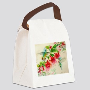Hummingbirds in Fuschia Garden 2 Canvas Lunch Bag