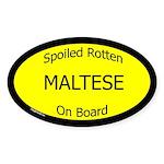 Spoiled Maltese On Board Oval Sticker