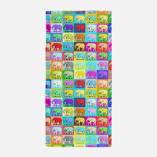 Colourful Elephants, Beach Towel