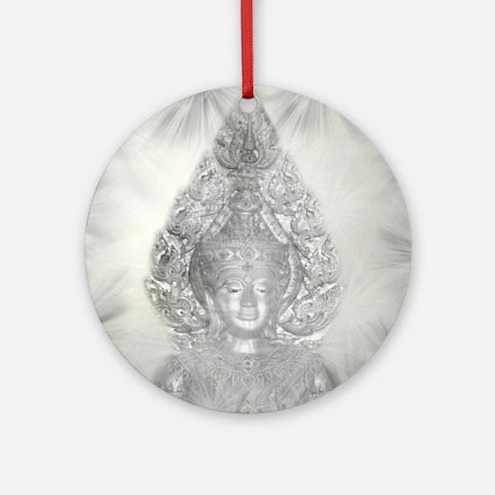 buddha in silver Round Ornament