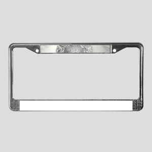 buddha in silver License Plate Frame