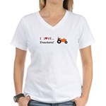 I Love Orange Tractors Women's V-Neck T-Shirt