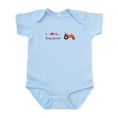 I Love Orange Tractors Infant Bodysuit