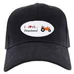 I Love Orange Tractors Black Cap
