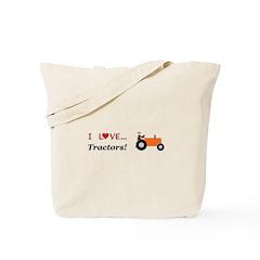 I Love Orange Tractors Tote Bag
